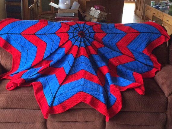 Spiderman Web Crocheted Blanket  88 inch diameter by GrammaHGifts
