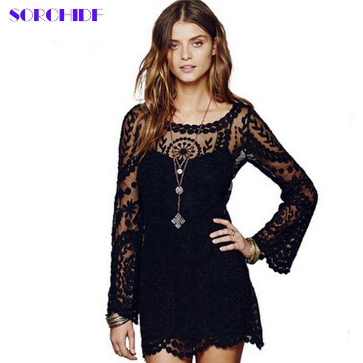 SORCHIDF Women Sexy Dress Long Sleeve White Hollow-out Date Dresses Clothing Females Casual Floral Lace Solid Mini Dresses Party