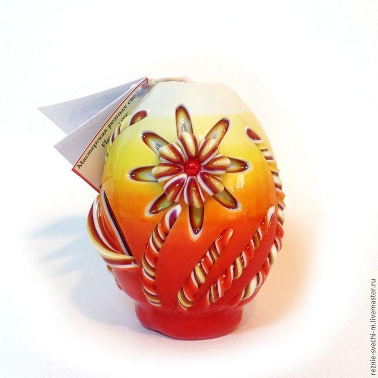 Яркая пасхальная резная свеча своими руками - Ярмарка Мастеров - ручная работа, handmade