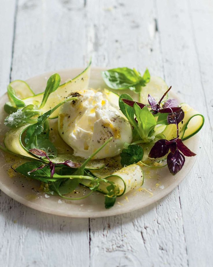 Shaved zucchini with grana, burrata & basil by Greg Malouf from New Feast | Cooked