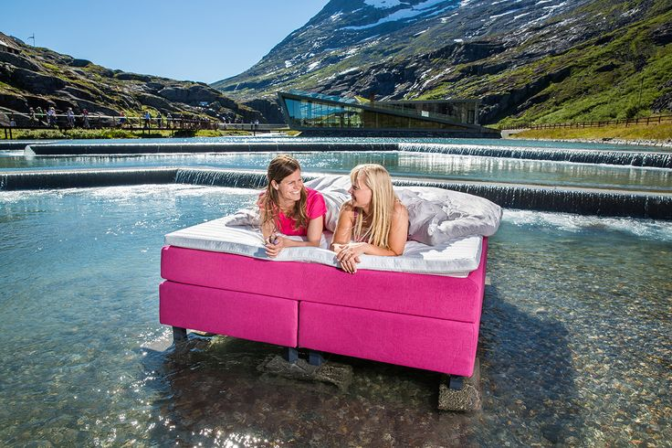 Wonderland beds supporting the Pink Ribbon Campaign in Norway. Photo from Trollstigen Mountain Road, 15 minutes drive from our factory in Åndalsnes, Norway. Photographer: Terje Aamodt.