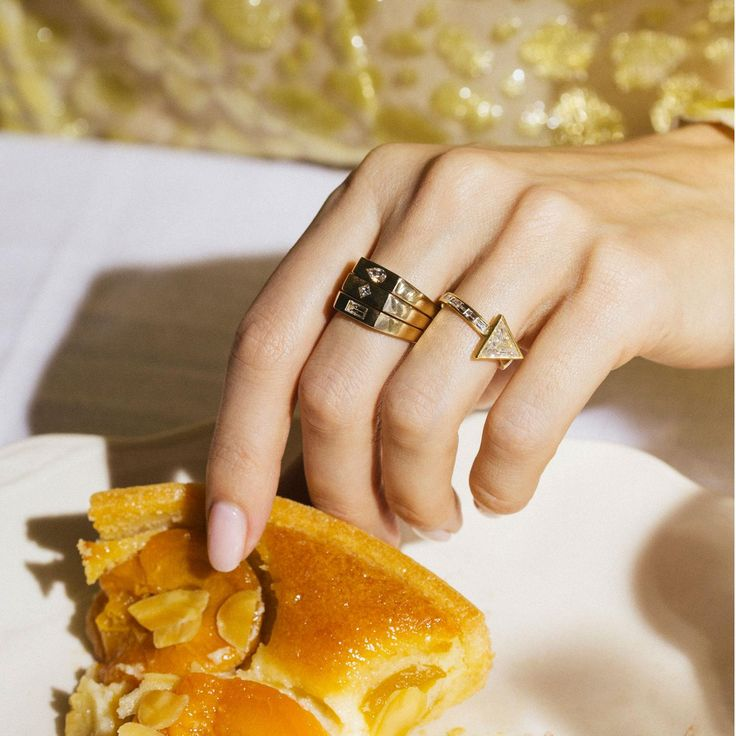 Tomfoolery alternative engagement rings with added frangipane tart. discover the home of alternative, different, cool, unusual, unconventional and fashion forward engagament rings in London for wedding brides: http://www.thejewelleryeditor.com/bridal/article/alternative-engagement-rings-london-tomfoolery-boutique/ #bridal