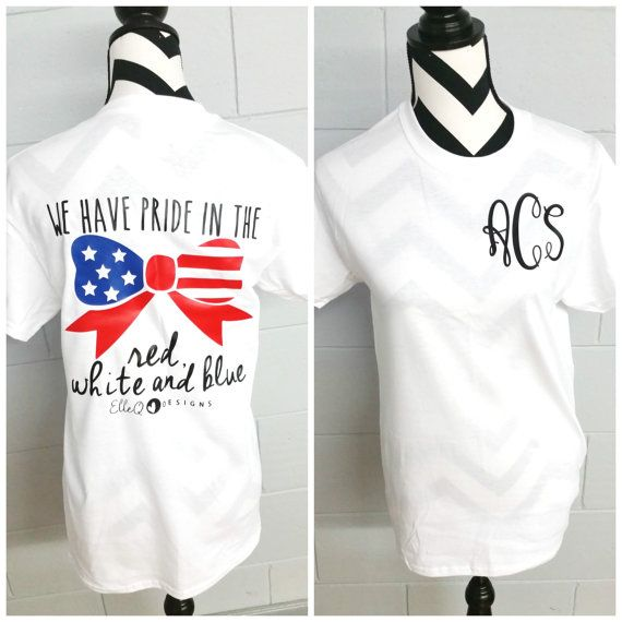 We have pride in the red, white and blue! This shirt is the perfect way to show your American pride all year long! -Price includes 4 black monogram