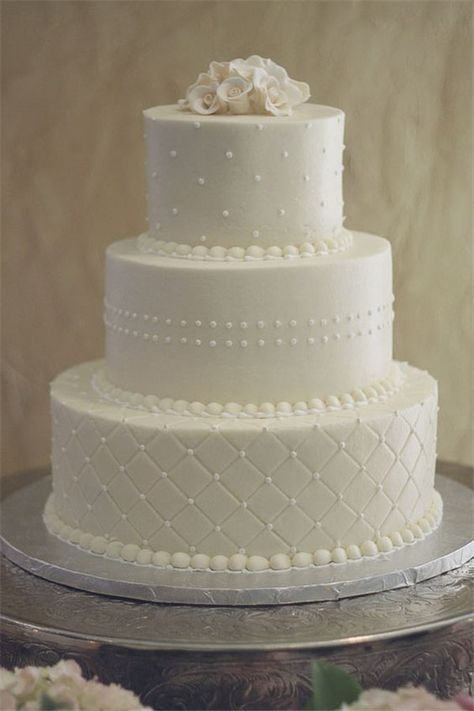 fondant white wedding cake with dots and quiltedpattern - Wedding Cake Design Ideas