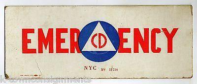 CD CIVILIAN DEFENSE LONG ISLAND NEW YORK CITY ORIGINAL EMERGENCY VEHICLE ID SIGN