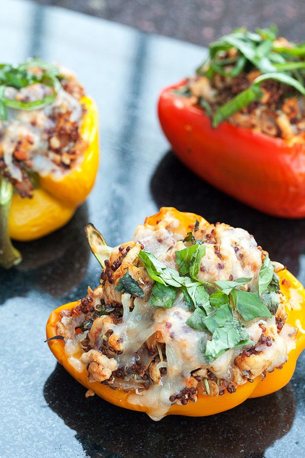 Turkey and Quinoa Stuffed Peppers by spachethespatula: These easy, low-fat/high-protein peppers are less than 200 calories each. #Peppers #Turkey #Quinoa #Healthy