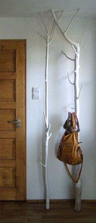 Make Use Of All Space - branch floor to ceiling coat hook and bag rack.Great cabin idea!