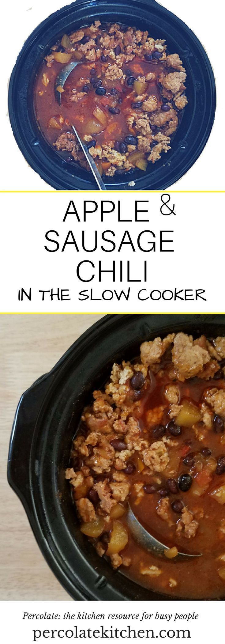 This apple sausage chili made in the slow cooker deepens the flavors, with diced apple adding a subtle sweetness to the heat of the chili.