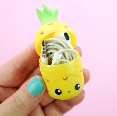 DIY kawaii pineapple earbuds holder made from a kinder surprise