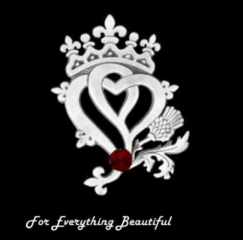 Hearts And Thistle Garnet Luckenbooth Large Sterling Silver Pendant