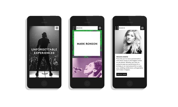 UKNY Music Events Branding App. Designed by White Bear Studio.