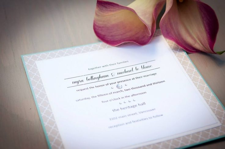 #Vancouver #Handmade #Wedding #Invitations Turquoise, modern beige pattern, ivory card stocks, designed with #simplicity. Small gemstones accompanied by solid text. www.blisspaper.com