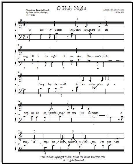 O Holy Night piano music for beginners, for Elementary Piano and Christmas duet, FREE!
