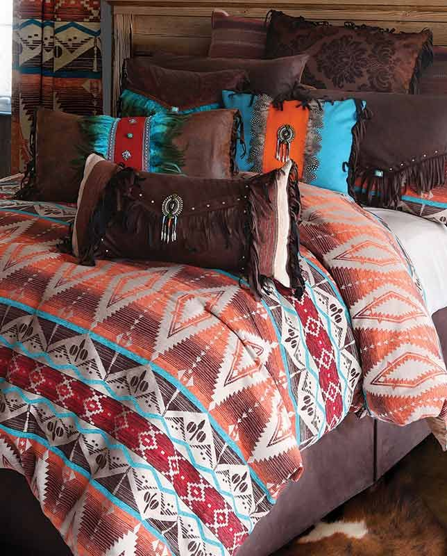 Mojave Sunset Bedding Set - Southwestern, Western Bedding, decor, bed, comforter, pillows, ranch, cowboy, fringe, faux leather