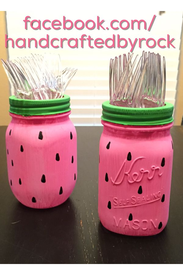 One in a melon party. Watermelon forks. Mason jar utensils.
