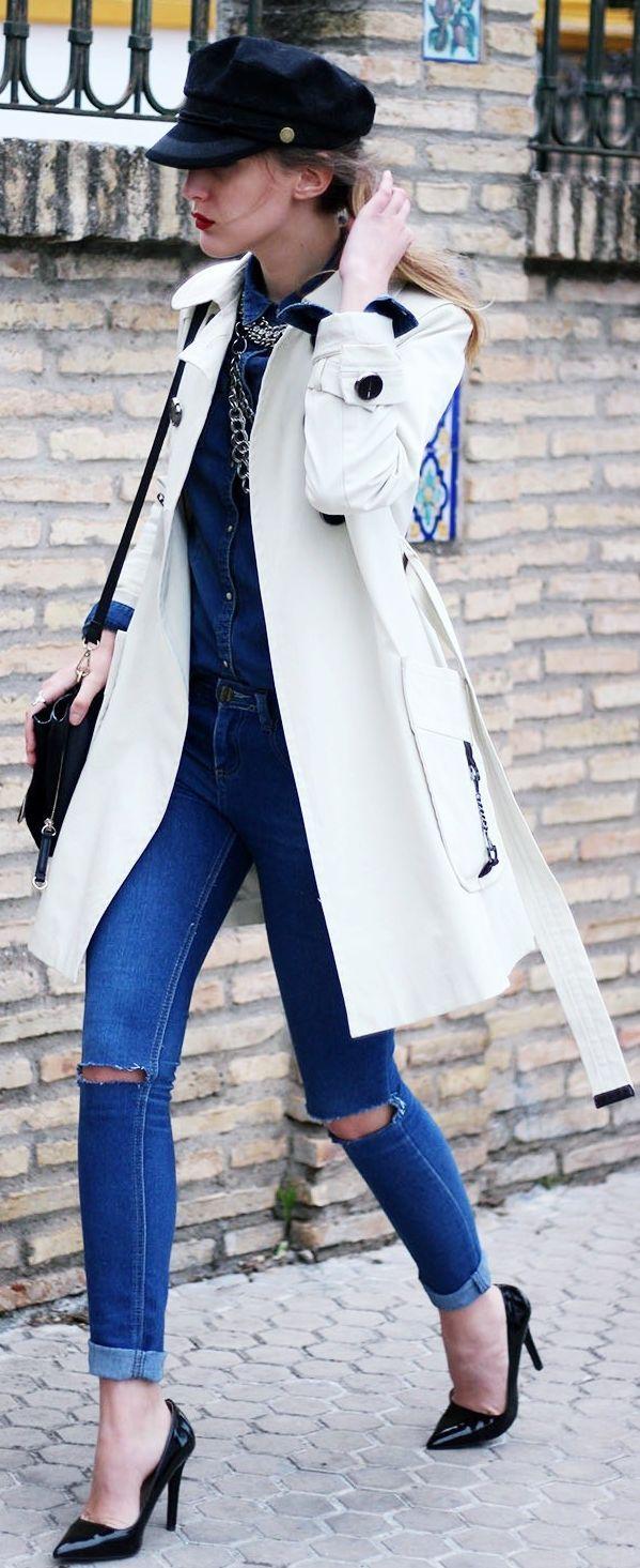 Choies Black Navy Cap, white trench, denim & heels - street style.