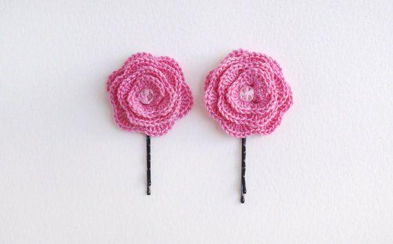 Hair pin Set of 2 Pink Flower Hair pins Bobby pins от HelenKurtidu, €5.00