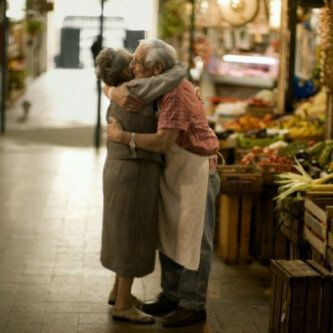 This sweet picture looks like... you and me when we'll be...ty:) years old and I'll do a surprise to you in the supermarket where you work... :)