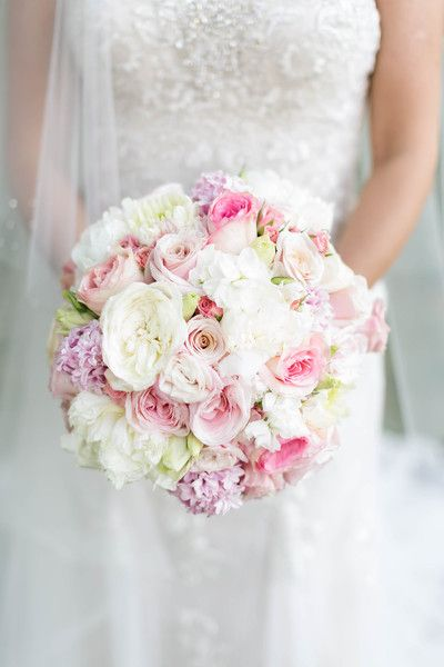 Spring wedding bouquet idea - white + pink bouquet with roses, peonies and hyacinth {Candice Adelle Photography}