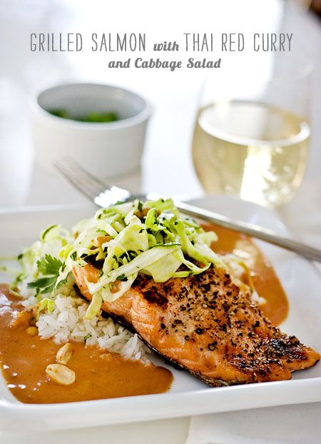 Grilled Salmon with Thai Red Curry and Cabbage Salad