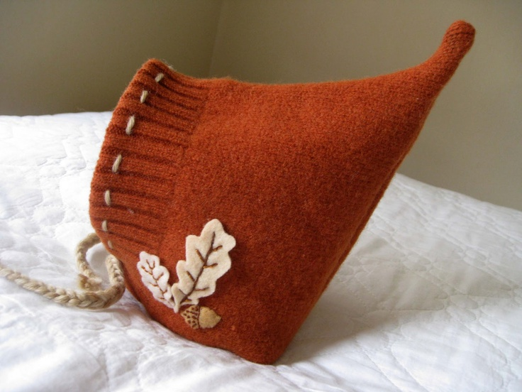 Oak Leaf Pixie Hat.  I wonder if I could make this with a recycled and sewn sweater?