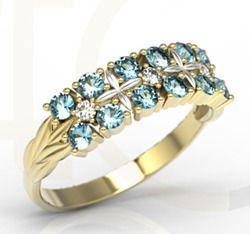Pierścionek z żółtego i białego złota z topazami i diamentami / Ring made from white and yellow gold with topaz and diamonds / 2 001 PLN / #jewellery #ring #gold #whitegold #diamonds #inspiration #giftidea