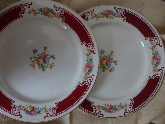 Homer Laughlin China Luncheon PlatesBurgundy and Floral