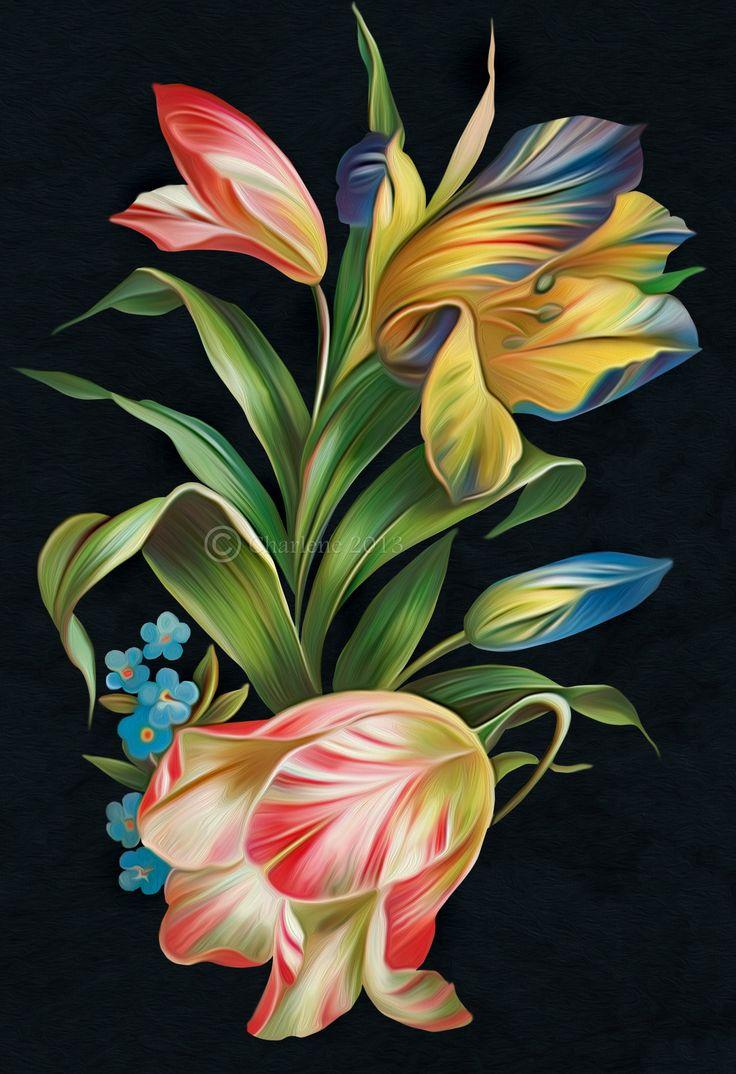 Floral(Digital Painting) by chamirra.deviantart.com on @DeviantArt