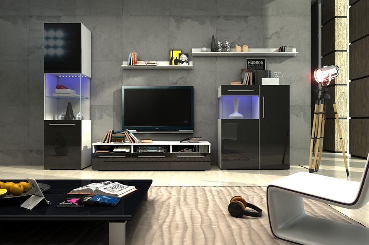 Die moderne Wohnzimmerwand Nice III vereint die Eleganz desitalienischen Designmit anspruchsvoller Verarbeitung hochwertiger Materialien. DieHochglanz Fronten in Weiß oder Schwarzveredeln jedes...