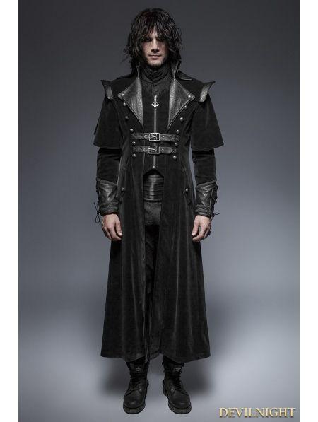 Black Gothic Long Cloak Coat for Men - Devilnight.co.uk