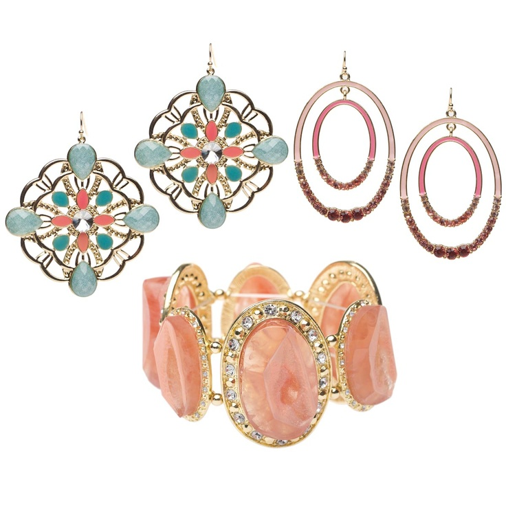 Sunset Sorbet collection of earrings and statement bracelet - all for only $31!Shoe Dazzle, Shoes Dazzle, Funky Jewelry, Summer Jewelry, Sunsets Sorbet, Pastel Colors, Shoedazzle Com, Jewelry Ideas, Statement Bracelets