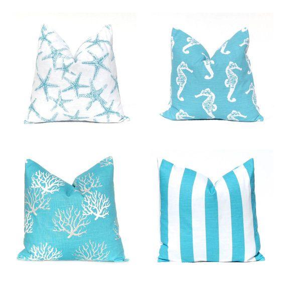 Pillows, Pillow Covers, Decorative Throw Pillow Cover Beach Decor 20 x 20 Coastal Blue Aqua on ...