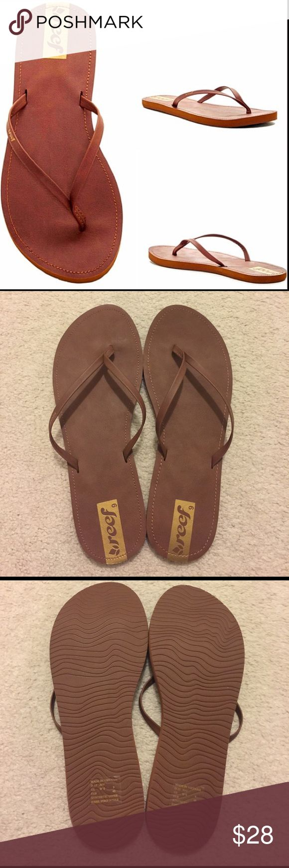 Brand New REEF Flip Flops Chestnut brown vegan leather flip flops with gold REEF branding. Women's size 9. Brand New- never worn. Offers considered Reef Shoes