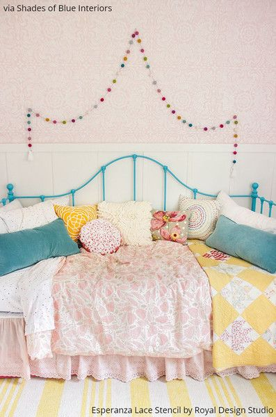 Kids Bedroom Stencils 64 best lace stencils images on pinterest | lace stencil, wall