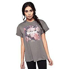 Miss Selfridge - Black floral print rock t-shirt