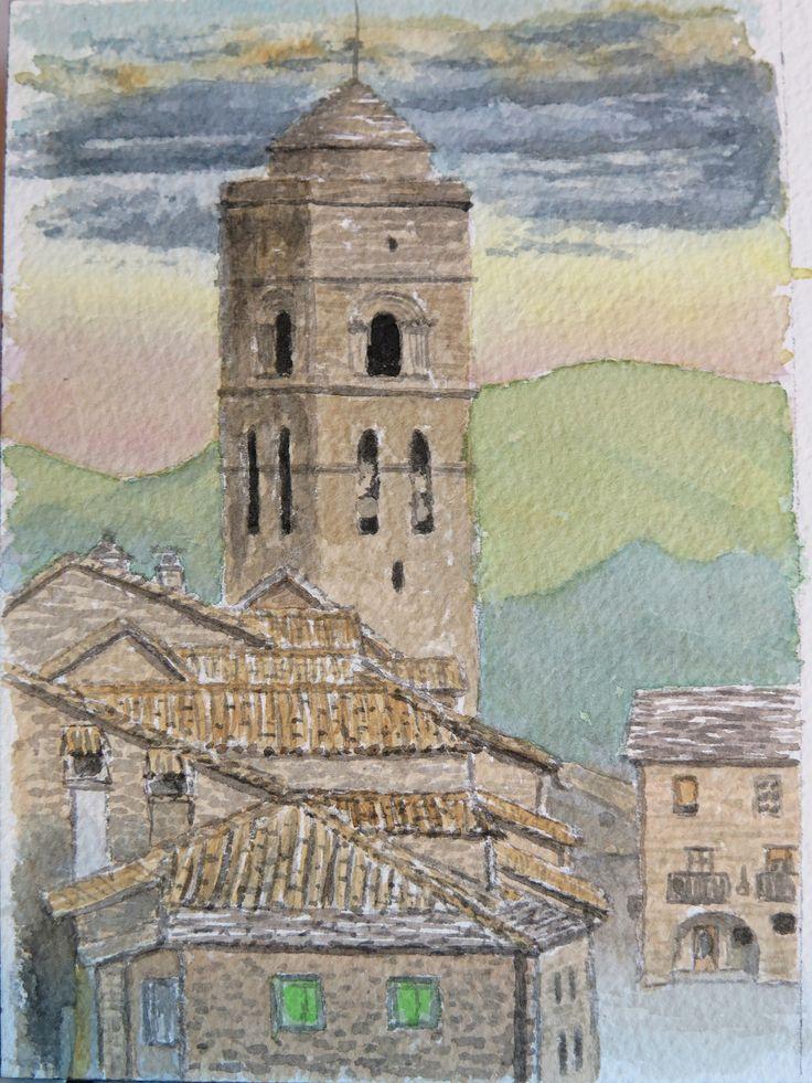 Ainsa medieval. Pirineos Huesca Acuarela papel Arches 300gr. 13x18