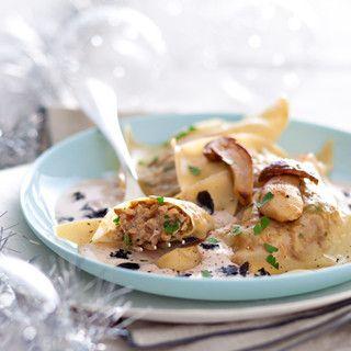 raviolis aux cèpes, sauce foie gras