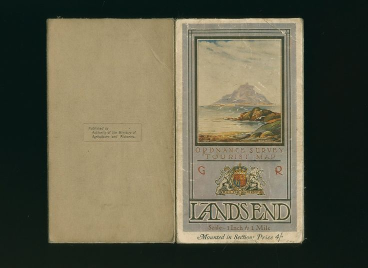ORDNANCE SURVEY 1 INCH TO 1 MILE MAP OF LAND'S END AND LIZARD AND THE ISLES OF SCILLY (Book #ID 81360) (1928) | 'Published by Ordnance Survey Office Southampton with Minor Corrections. 36'' x 28'', 36 mounted sectional folding colour map on linen. Light soiling and rubbing to the front and back covers, some fraying to the edges. Priced 4/-'     ✫ღ⊰n