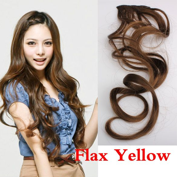 Flax Yellow LadyLong Curl Wavy Clip-on Sexy Stylish Hair Extension  Sale YF2017