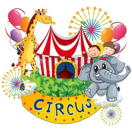 Illustration of a circus show with kids and animals on a white background