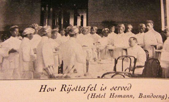 The Rijsttafel at the Hotel Savoy Homann in Bandung was also very well-known.