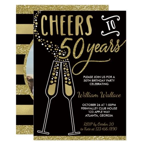 50th Birthday Party Invitation with Photo in Gold and Black