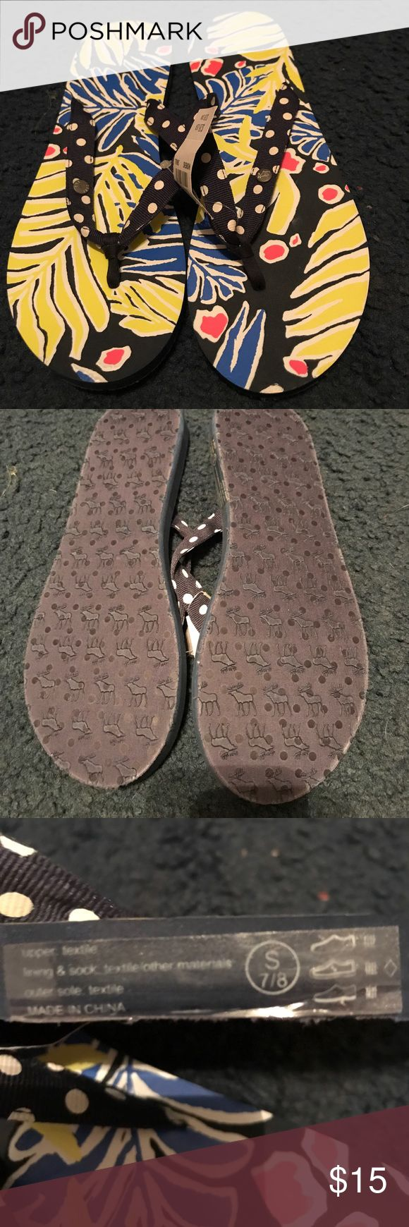 Abercrombie and Fitch flip-flops Abercrombie and fitch floral flip-flops with polkadots straps size is small witch is 7/8 Abercrombie & Fitch Shoes Sandals