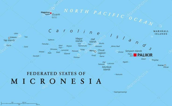 Mapa político de Estados federados de Micronesia con capital Palikir.