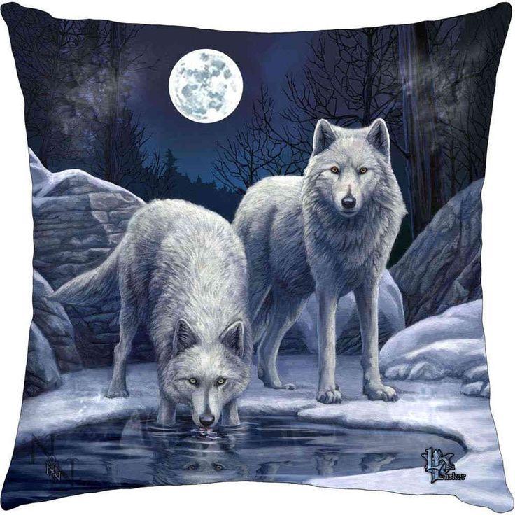 Nemesis Now Warriors of Winter - Witte wolven met maan kussen blauw -
