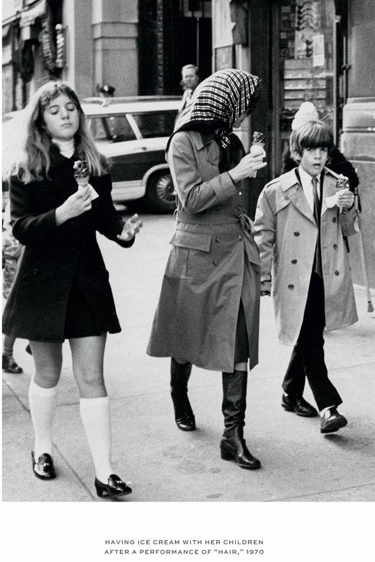 """1970 ~ Jackie, Caroline, & John Jr Enjoying Some Ice Cream After Seeing A Performance Of """"HAIR"""""""