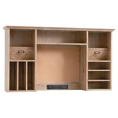 Hampton Smart Desk Hutch, Smoked Gray