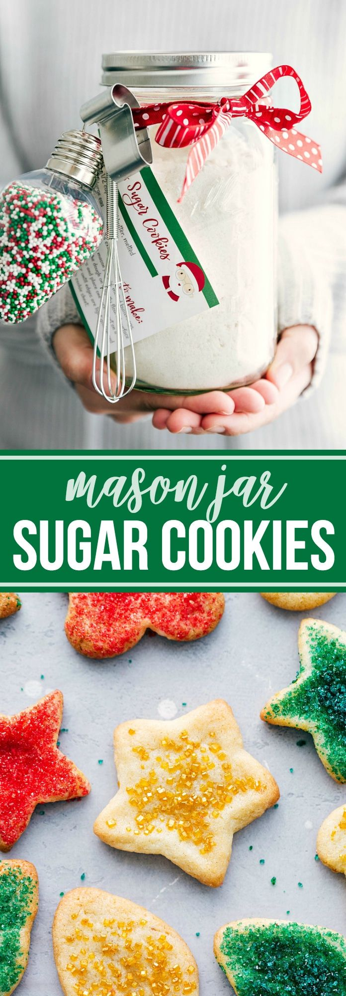 Four easy CHRISTMAS MASON JAR desserts with instructions and free printables. Perfect gifts for family, friends, teachers, etc. Video tutorial! via chelseasmessyapron.com
