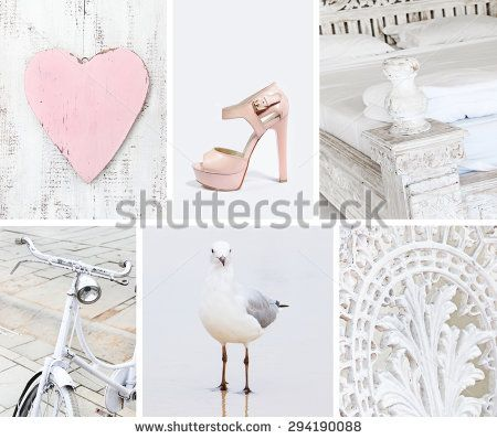 Collage of photos in white colors