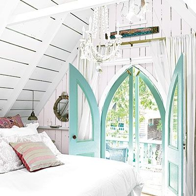 Love the mint doors. This whole room is soothing and inviting:): The Doors, Dreams Houses, Attic Bedrooms, Window, Southern Charms, Cottages Bedrooms, Blue Doors, Attic Rooms, Beaches Cottages